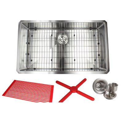 Ariel Premium Stainless Steel 32 x 19 Undermount Kitchen Sink with Sink Grid and Drain Assembly