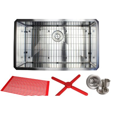 Ariel Premium Stainless Steel 30 x 18 Undermount Kitchen Sink with Sink Grid and Drain Assembly