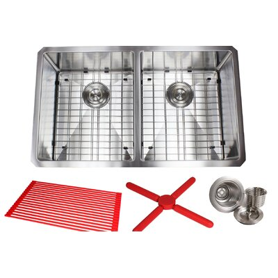Ariel Premium Stainless Steel 32 x 19 Double Basin Undermount Kitchen Sink with Sink Grid and Drain Assembly