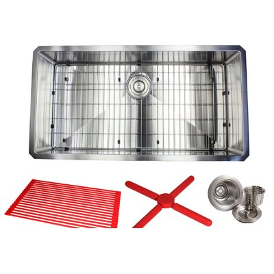 Ariel Premium Stainless Steel 36 x 19 Undermount Kitchen Sink with Sink Grid and Drain Assembly