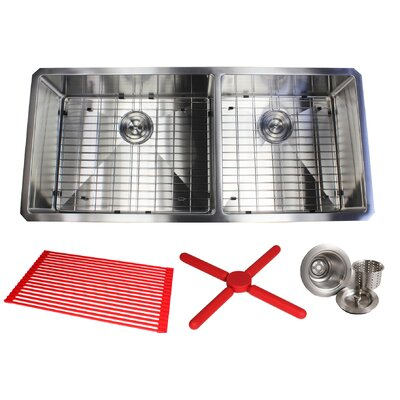Ariel Premium Stainless Steel 42 x 19 Double Basin Undermount Kitchen Sink with Sink Grid and Drain Assembly