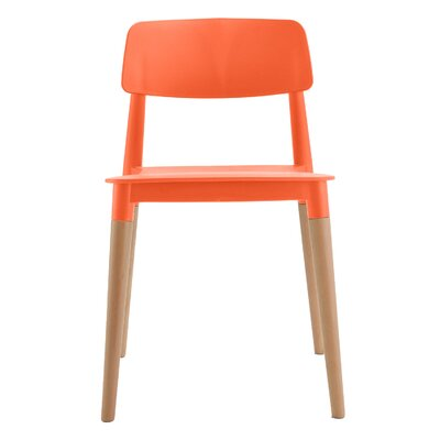 Bel Solid Wood Dining Chair Frame Color: Orange