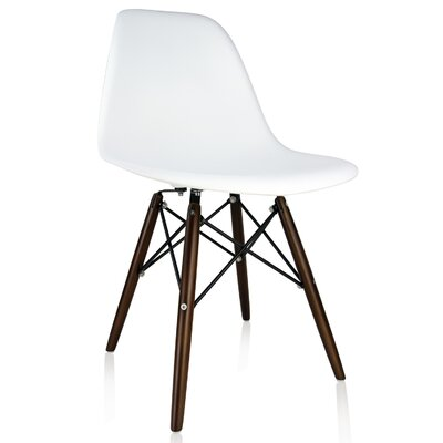 Whiteaker Molded Plastic Dining Chair Color: White/Dark Walnut