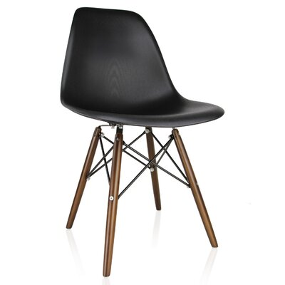 Whiteaker Molded Plastic Dining Chair Color: Black/Dark Walnut