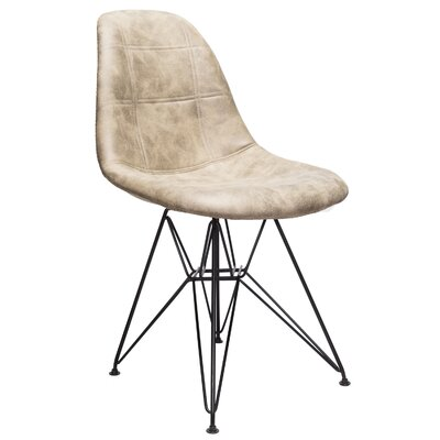 Cristopher Checkerboard Side Chair Upholstery: Light Brown