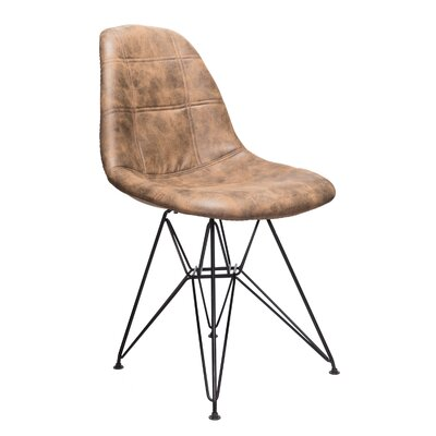 Cristopher Checkerboard Side Chair Upholstery: Dark Brown
