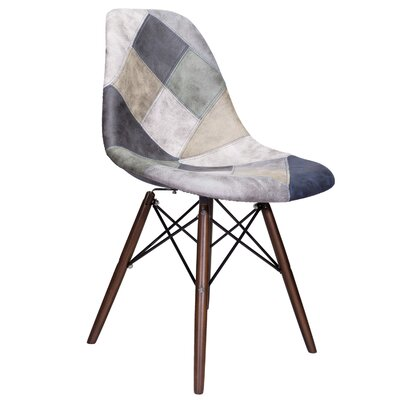 Cristopher Patchwork Side Chair Upholstery: Blue/Gray