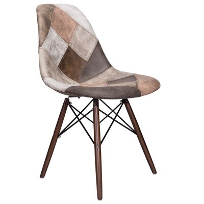 Cristopher Patchwork Side Chair Upholstery: Brown