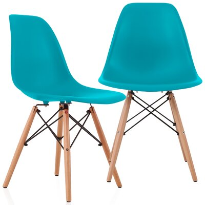 Aquarius Solid Wood Dining Chair Color: Teal Blue
