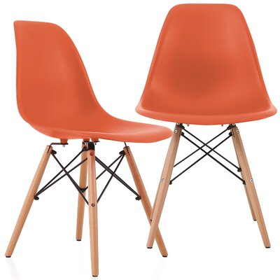 Aquarius Solid Wood Dining Chair Color: Blood Orange
