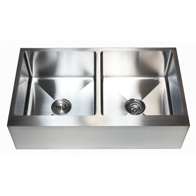 Ariel 36 x 21 Double Basin Farmhouse/Apron Kitchen Sink with Accessories