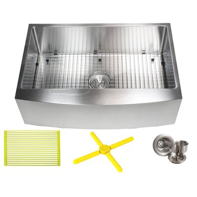 Ariel 33 x 21 Farmhouse/Apron Kitchen Sink with Bonus Accessories
