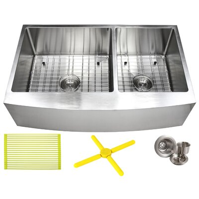 Ariel 36 x 21 Double Basin Farmhouse/Apron Kitchen Sink with Additional Accessories