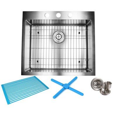 Ariel 25 x 22 Drop-In Kitchen Sink with Bonus Accessories