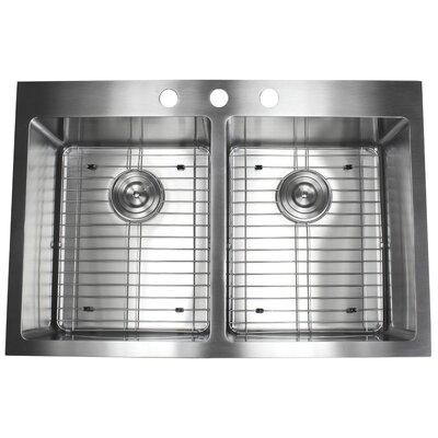 Ariel 33 x 22 Double Basin Drop-In Kitchen Sink with Bonus Accessories
