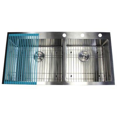 Ariel 43 x 22 Double Basin Drop-In Kitchen Sink with Bonus Accessories