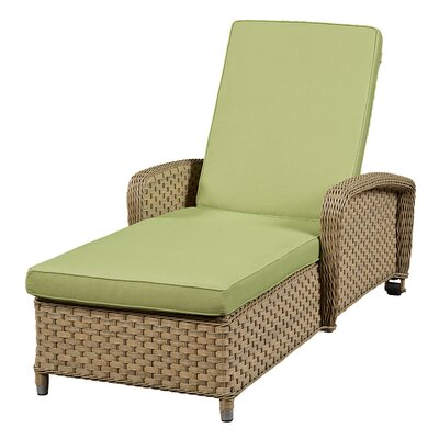 Wildon Home Chaise Lounge with Cushion - Frame Finish: Green Fabric: Canvas Navy