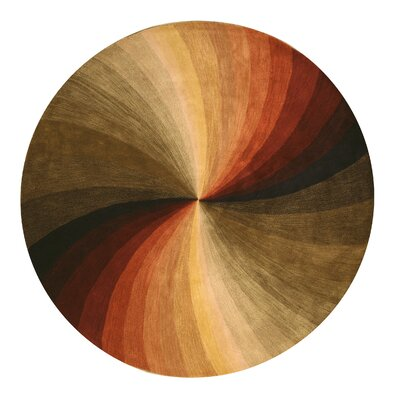 Hanchett Modern & Contemporary Abstract Hand-Tufted Wool Multi-colored Area Rug Rug Size: Round 99