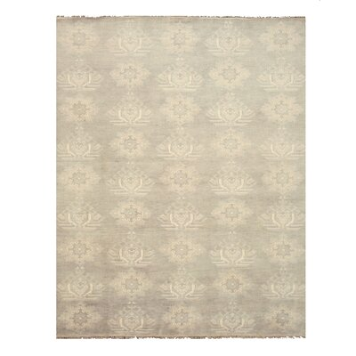 Mono Hand-Knotted Gray/Ivory Area Rug Rug Size: 12 x 15