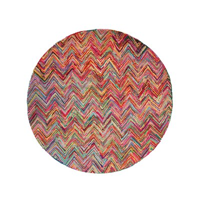 Hand Tufted Red/Pink Area Rug Rug Size: Round 6