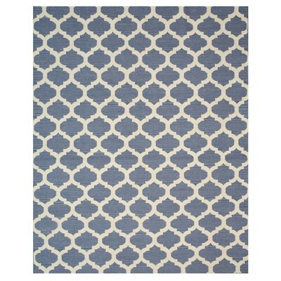 Hand Knotted Blue/Ivory Area Rug Rug Size: Rectangle 8 x 10