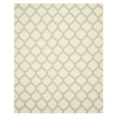 Hand Knotted Ivory/Gray Area Rug Rug Size: 8 x 10