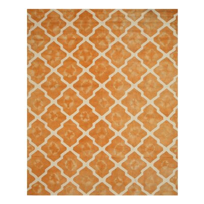 Hand Tufted Orange/ivory Area Rug Rug Size: 79 x 99