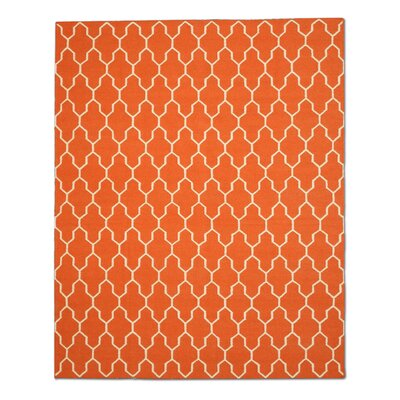 Hand Knotted Orange/Ivory Area Rug Rug Size: 10 x 14