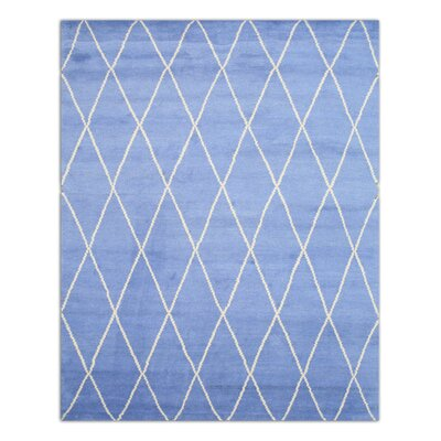 Moroccan Hand-Knotted Blue Area Rug Rug Size: 10 x 14