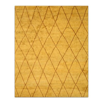 Durrant Hand-Knotted Gold Area Rug Rug Size: 10 x 14