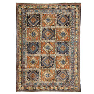 Panel Yalameh Hand-Knotted Blue Area Rug