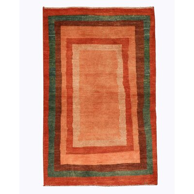 Hand-Knotted Orange Area Rug