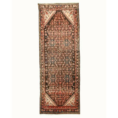 Hamedan Hand-Knotted Brown Area Rug