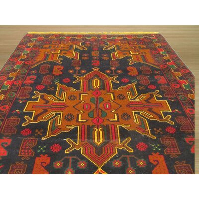 Baluchi Hand-Knotted Black Area Rug