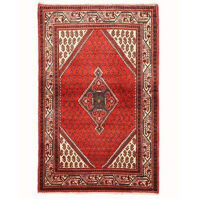 Hamedan Hand-Knotted Red Area Rug