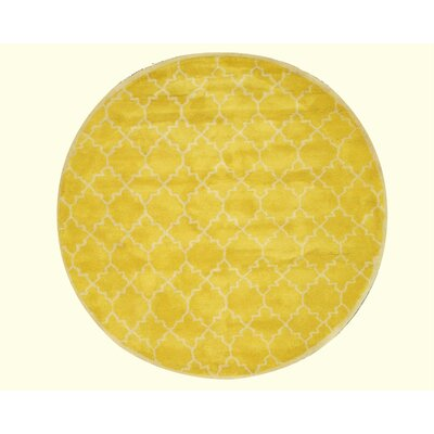 Durrant Traditional Trellis Hand-Tufted Wool Yellow Area Rug Rug Size: Round 79