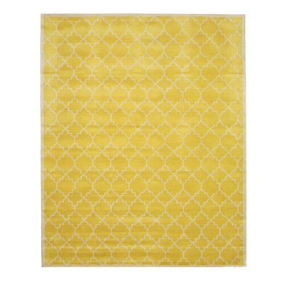 Durrant Traditional Trellis Hand-Tufted Wool Yellow Area Rug Rug Size: Rectangle 96 x 136
