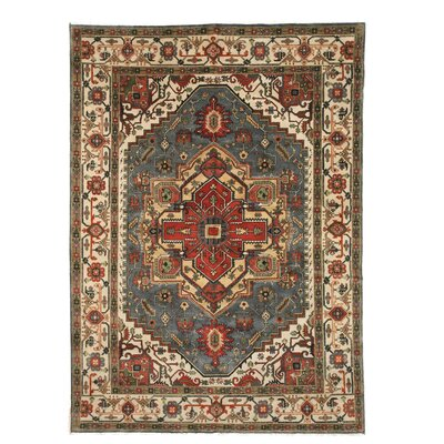 Montes Traditional Oriental Hand-Knotted Wool Blue Area Rug Rug Size: 6 x 9