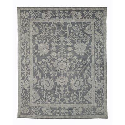 Monochrome Oushak Hand-Knotted Gray Area Rug Rug Size: 10 x 14