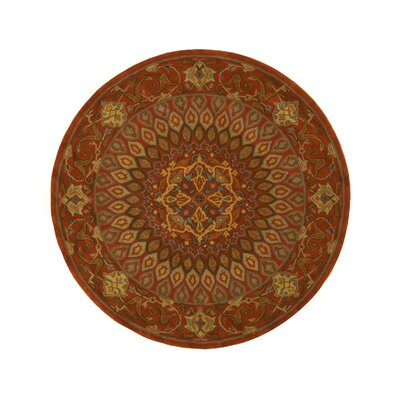 Gombad Hand-Tufted Rust Area Rug Rug Size: Round 79