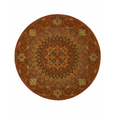 Gombad Hand-Tufted Rust Area Rug Rug Size: Round 6