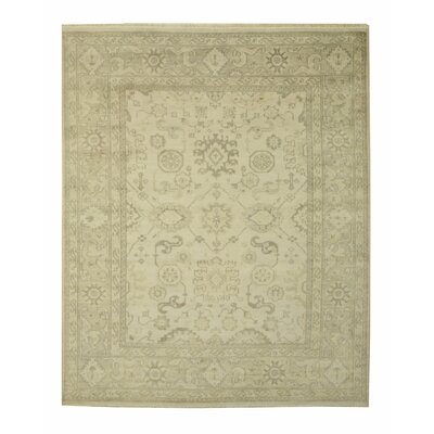 Monochrome Oushak Hand-Knotted Ivory Area Rug Rug Size: 8 x 10