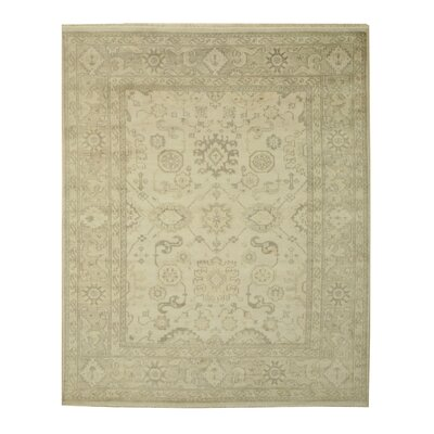 Monochrome Oushak Hand-Knotted Ivory Area Rug Rug Size: 12 x 15