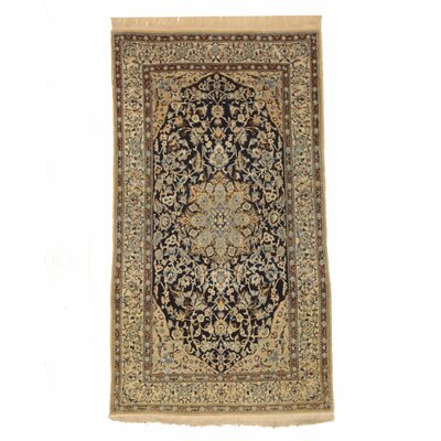 Naiin Hand-Knotted Ivory/Navy Blue Area Rug