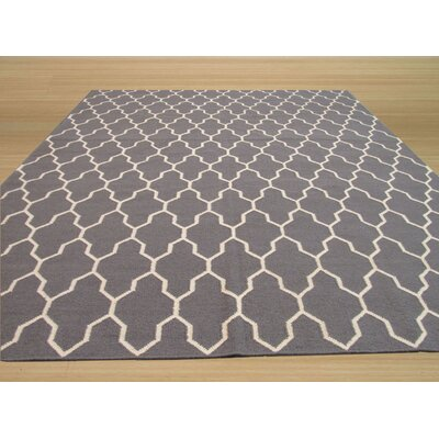 Hand Knotted Gray Area Rug Rug Size: Rectangle 56 x 8