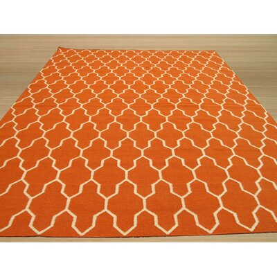 Hand-Woven Orange/Ivory Wool Area Rug Rug Size: Rectangle 56 x 8