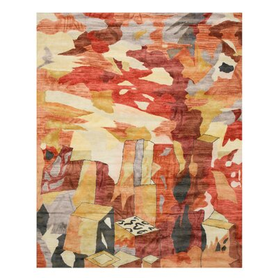 Hand Tufted Orange Area Rug Rug Size: 89 x 119
