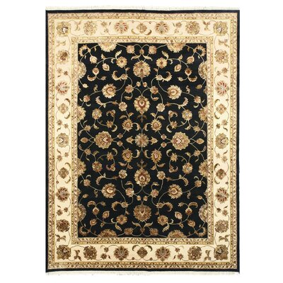 Hand Knotted Black Area Rug