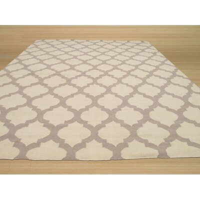 Hand-Woven Gray/Ivory Wool Area Rug Rug Size: Rectangle 12 x 15