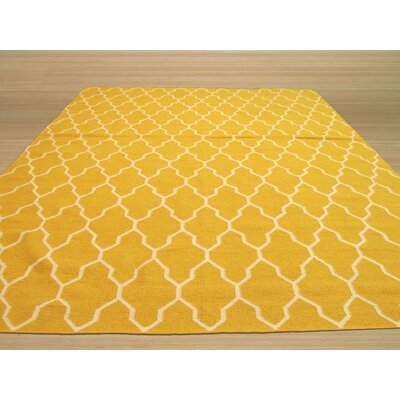 Hand Knotted Yellow/Ivory Area Rug Rug Size: Rectangle 56 x 8